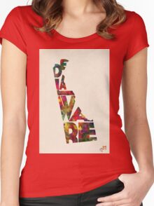Delaware Typographic Watercolor Map Women's Fitted Scoop T-Shirt