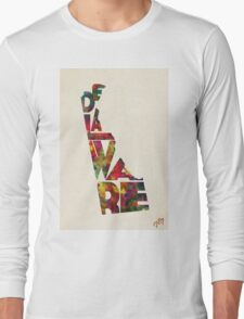 Delaware Typographic Watercolor Map Long Sleeve T-Shirt
