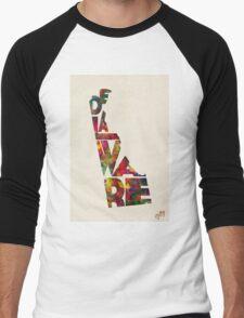 Delaware Typographic Watercolor Map Men's Baseball ¾ T-Shirt