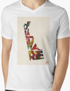 Delaware Typographic Watercolor Map Mens V-Neck T-Shirt