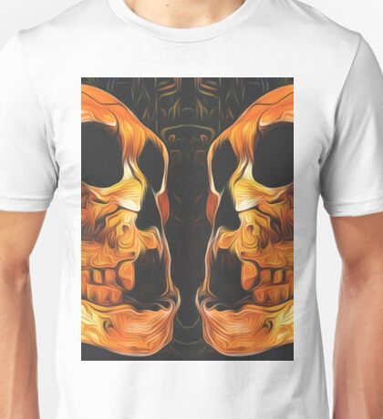 twin orange skull with black background Unisex T-Shirt