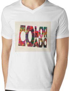 Colorado Typographic Watercolor Map Mens V-Neck T-Shirt