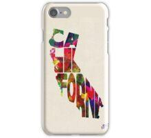 California Typographic Watercolor Map iPhone Case/Skin