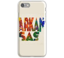 Arkansas Typographic Watercolor Map iPhone Case/Skin