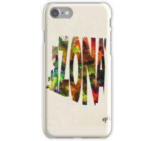 Arizona Typographic Watercolor Map iPhone Case/Skin