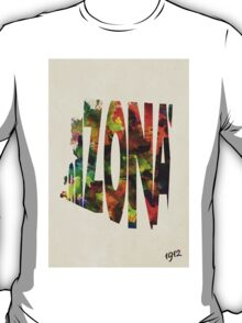 Arizona Typographic Watercolor Map T-Shirt