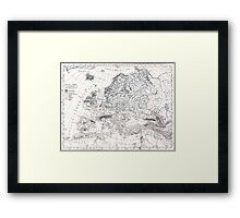 Europa, eis age old map from 1884 Framed Print