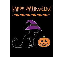 Halloween Witch Cat and Pumpkin Photographic Print