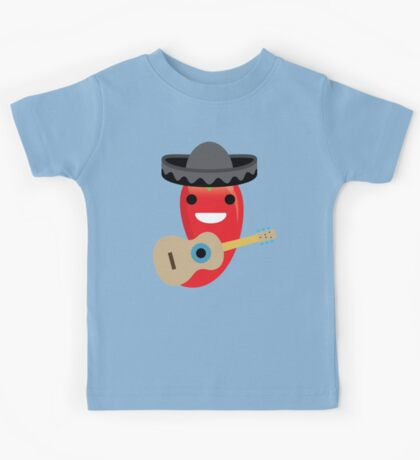 Spicy Chili Emoji Happy Smiling Face with Guitar Kids Tee