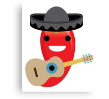 Spicy Chili Emoji Happy Smiling Face with Guitar Canvas Print