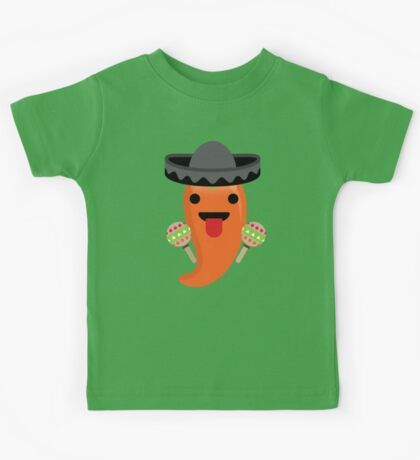 Spicy Chili Emoji Tongue Out Kids Tee