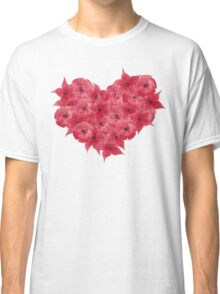 Watercolor Red flowers in the shape of a heart.  Classic T-Shirt