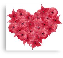 Watercolor Red flowers in the shape of a heart.  Canvas Print