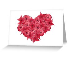 Watercolor Red flowers in the shape of a heart.  Greeting Card