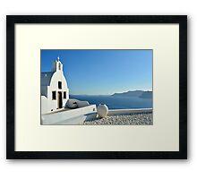 White church in Santorini, Greece Framed Print
