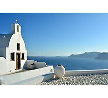 White church in Santorini, Greece Photographic Print