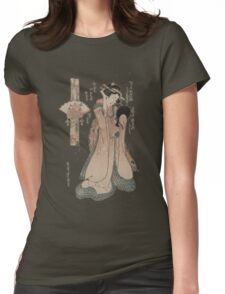 Vintage geisha with fan illustration  Womens Fitted T-Shirt