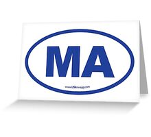 Massachusetts MA Euro Oval BLUE Greeting Card