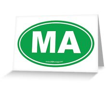 Massachusetts MA Euro Oval GREEN Greeting Card