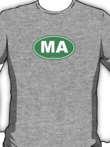 Massachusetts MA Euro Oval GREEN T-Shirt