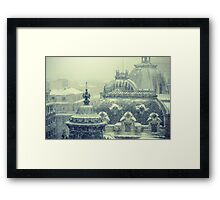 Blizzard over the Rooftops Framed Print