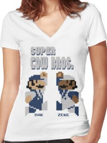 Super Cow Bros. (Blue/Silver) Women's Fitted V-Neck T-Shirt