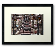 statue  donkey, dog, cat and cockerel Framed Print