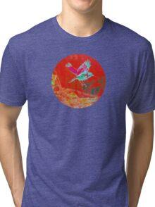 Red bird in flight Tri-blend T-Shirt