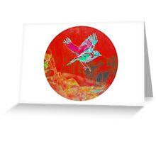 Red bird in flight Greeting Card