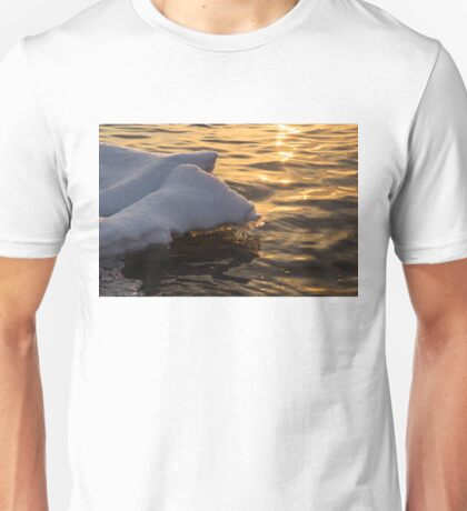 Icy Golds - Glowing Icicles Reflected on Silky Water Unisex T-Shirt