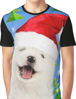 Happy Samoyed puppy dog wearing Christmas hat Graphic T-Shirt