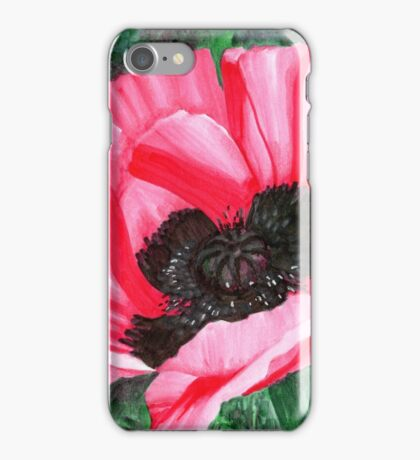 Pink Poppy Flower - Pigment Marker Drawing iPhone Case/Skin