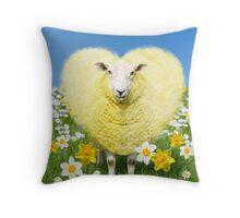 Yellow heart shaped ewe sheep in spring Throw Pillow