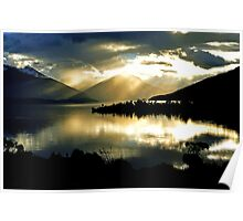 Lake Te Anau at sunset. South Island, New Zealand. (2) Poster