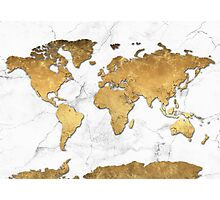 world map gold 6 Photographic Print