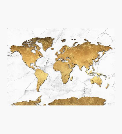 world map gold 6 Photographic Print