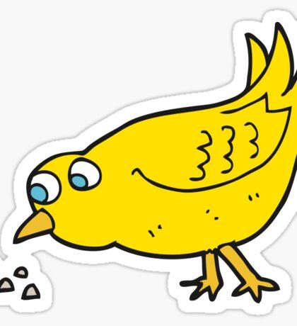 cartoon bird pecking seeds Sticker
