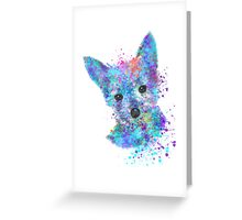 Colorful Watercolor Puppy Dog Greeting Card
