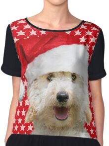 Happy Poodle dog wearing a Christmas hat Chiffon Top