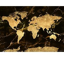 world map gold 7 Photographic Print