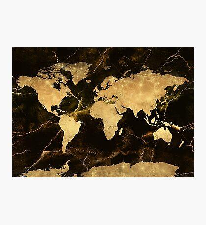 world map gold 7 Photographic Print