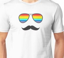Glasses With Rainbow Lenses and Mustache Unisex T-Shirt