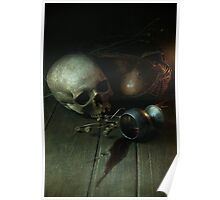Still Life With Human Skull And Silver Chalice Poster