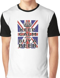 UNION JACK, BRITISH, FLAG, BLIGHTY, KEEP CALM & BUY A BEER, UK, ON BLACK Graphic T-Shirt