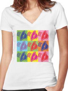 Pop Art Speaker Cones Women's Fitted V-Neck T-Shirt