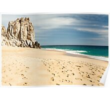 Footsteps in the beach of Cabo San Lucas, Mexico Poster