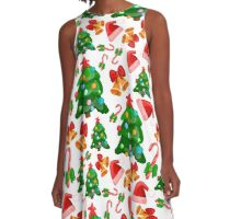 Merry Christmas and New Year pattern A-Line Dress