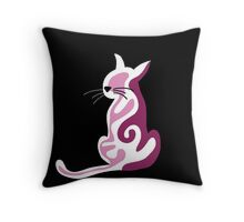Pink abstract cat Throw Pillow