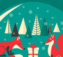 Christmas Foxes have gift for you! Sticker