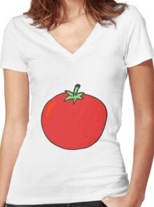 cartoon tomato Women's Fitted V-Neck T-Shirt